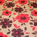 Poppies - Curtains Soft Furnishings Cotton Canvas  Fabric - Red & Brown